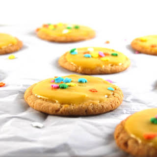 Vegan Cardamom Sugar Cookies with Mango Icing.