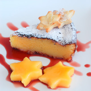 White Chocolate Cake with Mango and Pomegranate Syrup