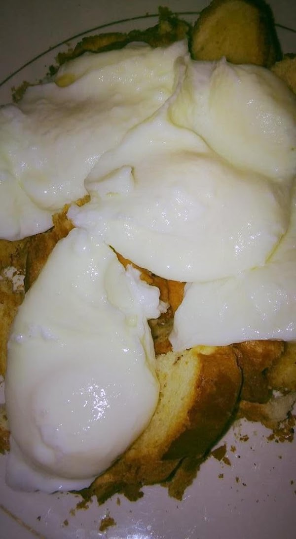 This is 4 pieces of toast cut up with 4 poached eggs on top.