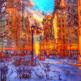 Golden Hour NYC by Winnie Basso - Painting All Painting