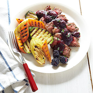 Rosemary-Rubbed Strip Steak with Blackberry Sauce