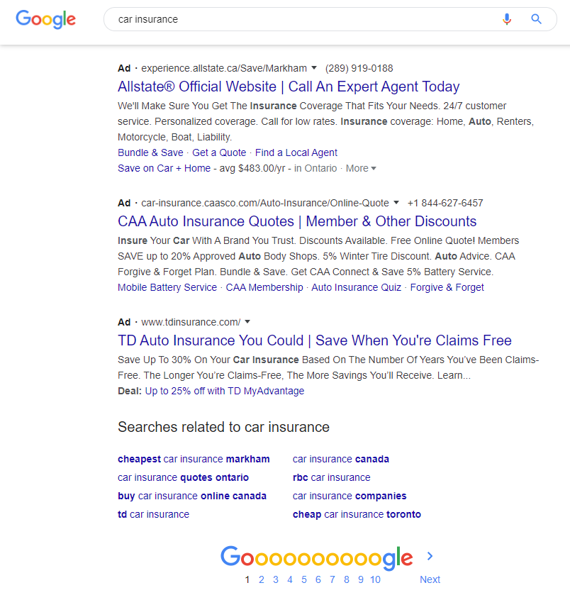 Paid search results at the bottom of the search results page.