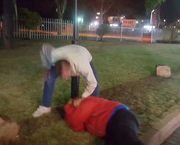 One of the six men is seen assaulting a man outside a KFC in Montana, north of Pretoria.