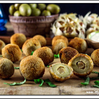 Fried Olives Stuffed with Roasted Garlic