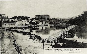 Photo: Ribeira dos peiraos coa ponte-carril para facer obras (Nova Ponte)