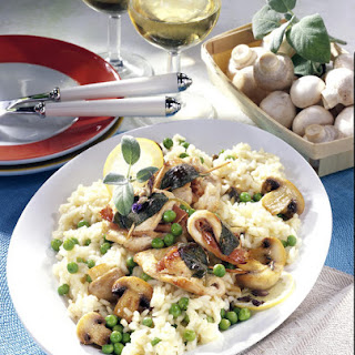 Pea and Mushroom Risotto with Turkey, Parma Ham and Sage