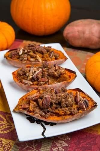 Twice Baked Sweet Potato Potato Skins with Pecan Streusel (aka Individual Sweet...