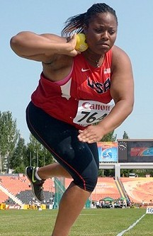 Ashlie Blake highlighted Team USA throwers with her shot put bronze. Photo by Kirby Lee, Image of Sport.