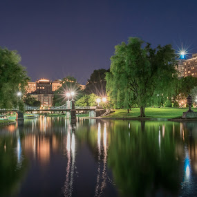 Boston Public Gardens by Paul Gibson - City,  Street & Park  City Parks ( water, boston, night photography, long exposure, nightscape )