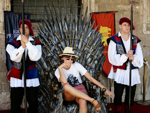 "Photo: This is the infamous throne from the TV series, ""Game of Thrones"" - complete with nasty looking guards."