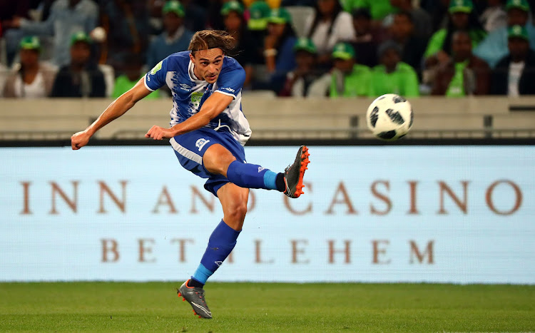 Maritzburg United striker Andrea Fileccia shoots for goal during the Nedbank Cup final against Free State Stars at Cape Town Stadium on May 19 2018.