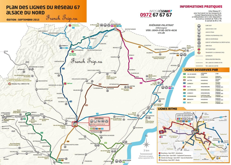 Схема маршрутов автобусов вокруг Агно, Эльзас