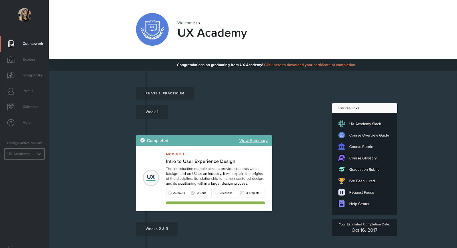 Designlab UX Academy course dashboard screenshot