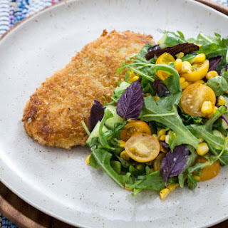 Chicken Milanese with Summer Corn, Tomato & Cucumber Salad