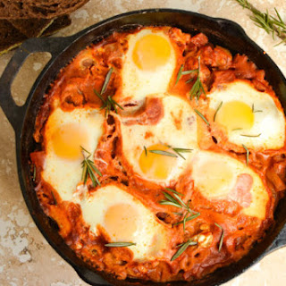 Easy Baked Shakshuka with Fennel and Goat Cheese.