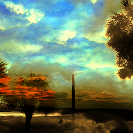 Trees And Sky by Edward Gold - Digital Art Places ( artistic objects, digital photography, blue sky, pond, reds, clouds, brown, trees, scenic view, digital art,  )