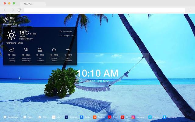 Beach new tab HD pop landscape theme