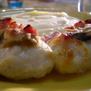 Hake Medallions with Bacon, Mushrooms, and Mozzarella