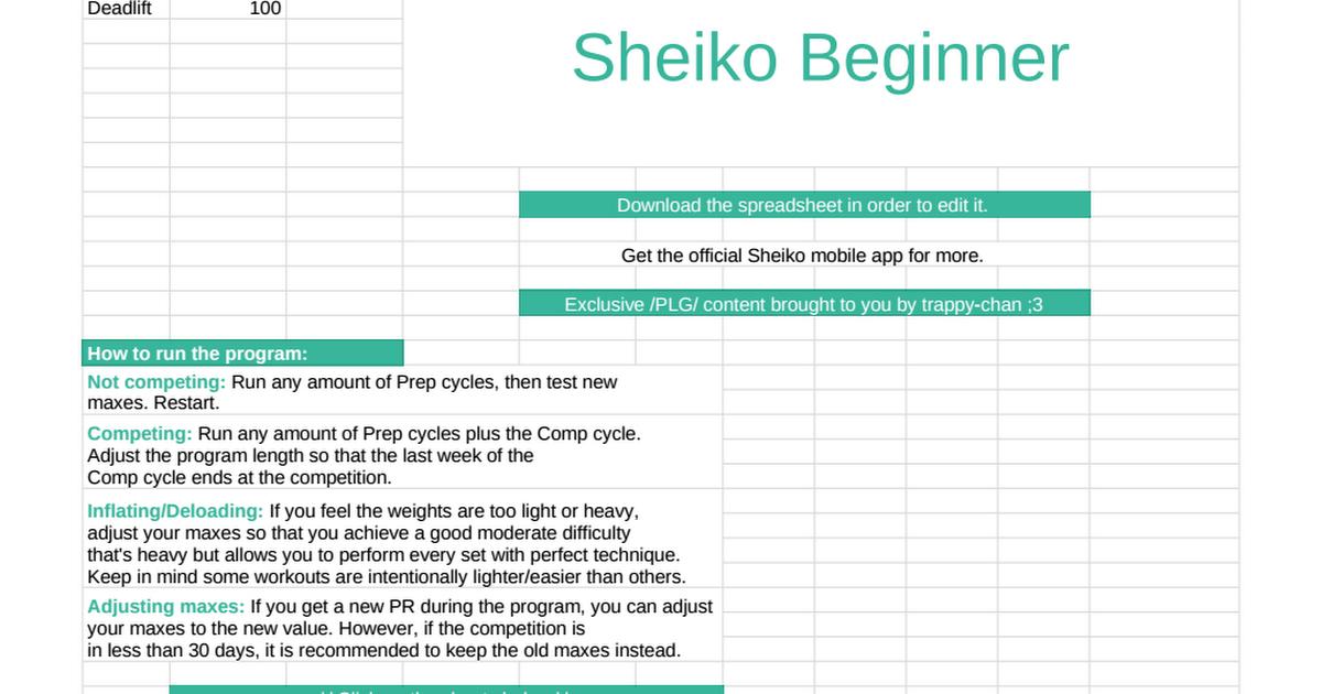 Sheiko Beginner - Google Sheets