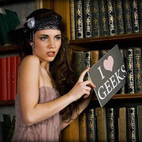 I love geeks by Katja Zagar Photography - People High School Seniors ( love, school girl, fashion, girl, school, woman, beautiful, library, book, geeks, people )