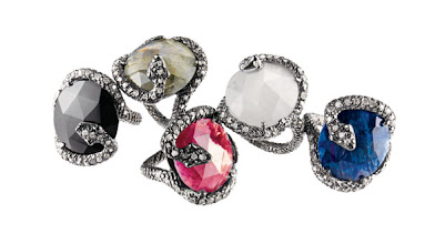Photo: NINA RUNSDORF Blackened Sterling Silver Snake rings with diamond accents. With blue or red sapphire, $1,500. With blue moonstone, onyx or labradorite $990. Main Floor. 212 872 8775