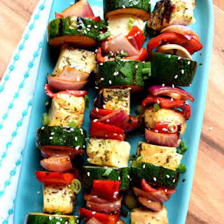 Herb and Garlic Halloumi Vegetable Skewers.