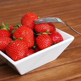 Strawberries by Denis Klicic - Food & Drink Fruits & Vegetables ( fruit, fork, red, wood, fresh, strawberries, table )
