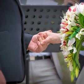 That grip..  by Gary Bradshaw - Wedding Bride & Groom