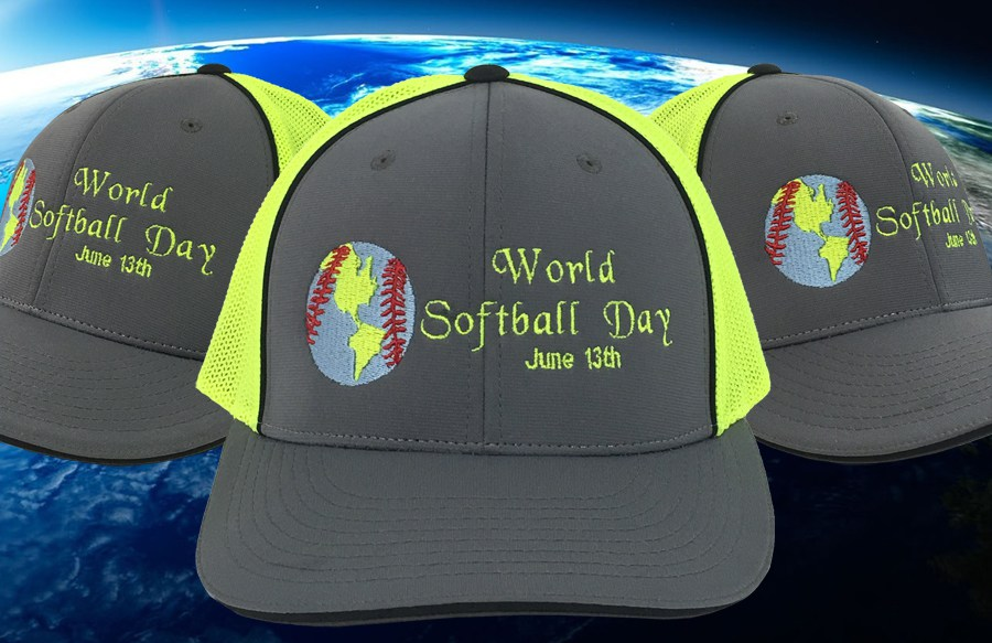 world softball day caps