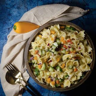 Vegan Bow Tie Pasta Salad with Lemony Dressing.