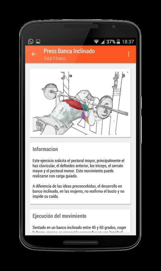 T fitness rutinas gimnasio aplicaciones de android for Gimnasio 8 de octubre