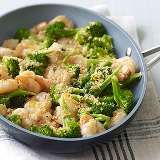 Garlicky Shrimp with Broccoli and Toasted Breadcrumbs.