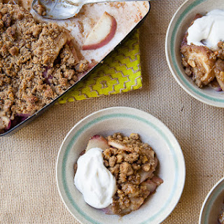Short Cake's White Peach Crisp with a Brown Butter Walnut Crumble