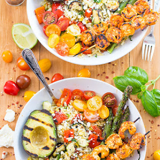 Grilled Harissa Shrimp & Orzo Bowls