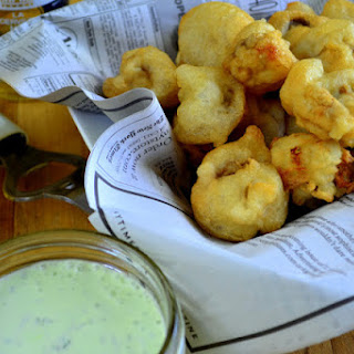 Beer Battered Mushrooms with Herbed Ranch.
