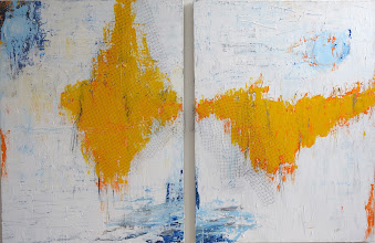 Photo: THE SUN IS SUCH A LONELY STAR 72 x 48 diptych, acrylics, deer netting