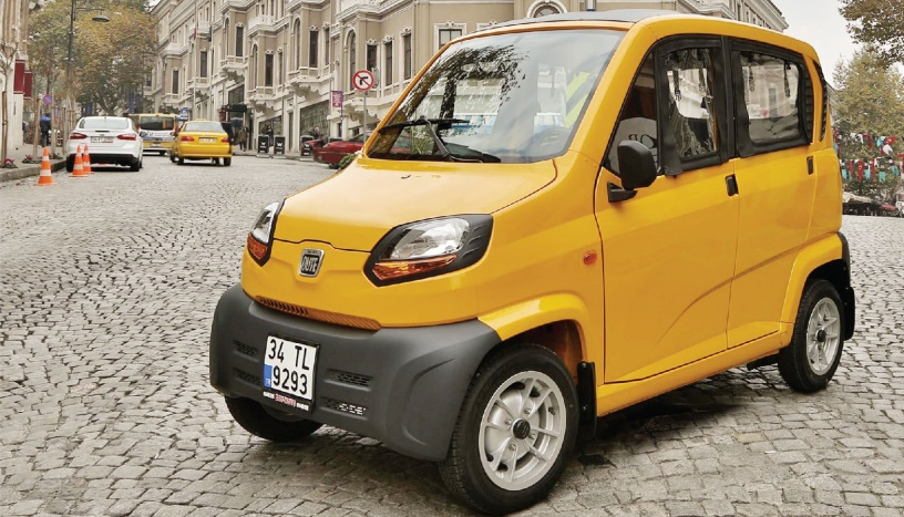 The Indian-manufactured Bajaj Qute vehicles are available in both compressed natural gas and petrol options.