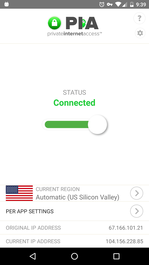 VPN by Private Internet Access- screenshot