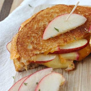 Apple Stuffed Sharp Cheddar Grilled Cheese.