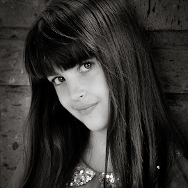 by Judy Rosanno - Black & White Portraits & People ( child, girl, female, head shot, portrait )