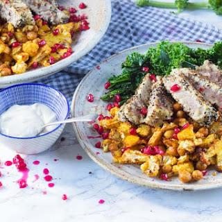 Cumin Crumbed Tuna Steak with Paprika Cauliflower & Crispy Kale.