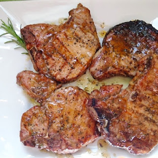 Grilled Pork Chops with Maple-Bourbon Sauce