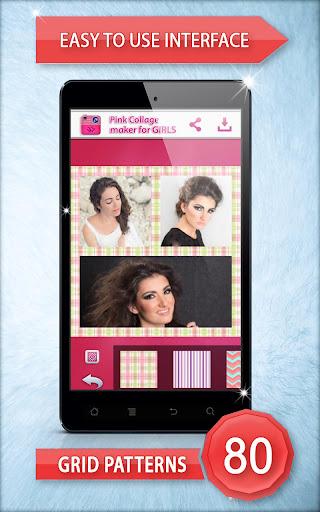女の子のためのピンクのコラージュメーカー