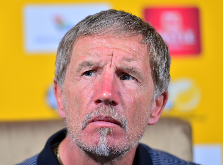 Bafana Bafana head coach Stuart Baxter listens to a question during the 2018 FIFA World Cup qualifier press conference at Fusion Boutique Hotel, Polokwane on 09 November 2017.