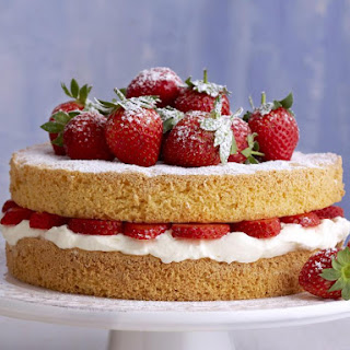 Strawberry Cream Sponge Cake.