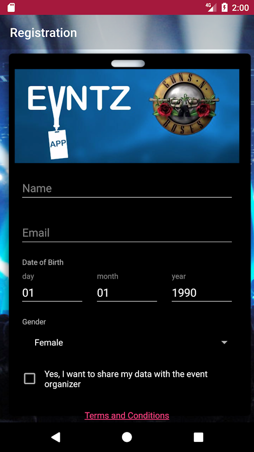 Evntz App- screenshot