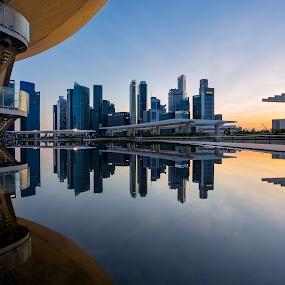 Singapore Skyline Sunset by Martin Yon - Landscapes Travel ( building, reflection, skyline, sunset, art, museum, singapore, sam )
