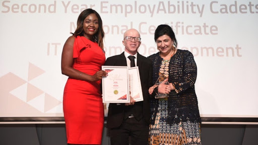 Khethiwe Nkuna, head of Corporate Citizenship, Inclusion & Diversity for Accenture Africa, graduate Percy Maimela, and Lyn Mansour, CEO of KLM Empowered.