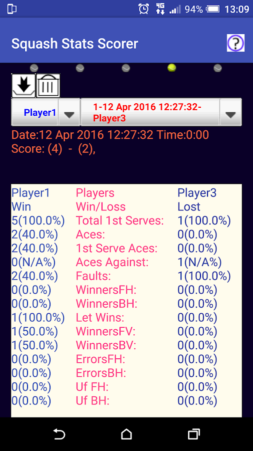 Squash Match/Stats Scorer- screenshot
