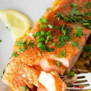Cajun Baked Salmon with Cajun Rice.